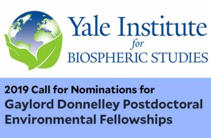 Donnelley Postdoctoral Environmental Fellowship in Yele Institute, USA